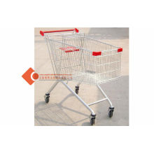 "Stackable 125l Push Supermarket Shopping Cart / Trolleys With 4"" Pvc Castors"