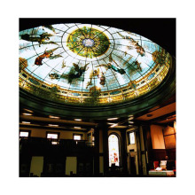 2021 custom patterns stained glass ceiling panel for plaza or church decoration