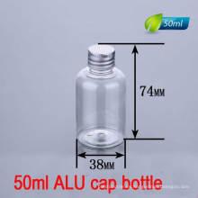 50ml de alta calidad de aluminio tornillo tapa crema / oral botella líquida
