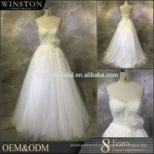 Hot China fornecedor renda vestido de casamento vestido de renda de tul com decote coração