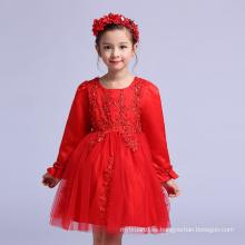 Chino Navidad niños ropa de año nuevo vestidos de bola para el partido rojo de manga completa para niños vestidos niñas Emboidery PRENDAS DE VESTIR