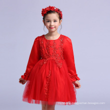 Chinese Christmas Children Clothes New Year's Ball Gowns For Party Red Full Sleeve Kids Dresses Girls Emboidery GARMENTS
