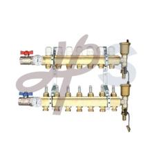 Colector de calefacción de latón con medidor de flujo corto y válvula de bola