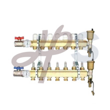 Brass heating Manifold with short flow meter and ball valve