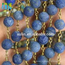 Venta al por mayor Redonda Gemstone Metal Wire Rosary Beads Chain