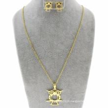 Bijoux à prix réduits Boucles d'oreille et collier Owl Oval Chain Dubai Gold Jewelry Set