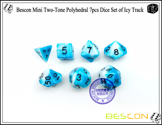 Bescon Mini Two-Tone Polyhedral 7pcs Dice Set of Icy Track-4