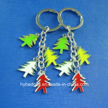 Christmas Trees Key Ring of Gold Printed, Decoration (GZHY-KC-002)