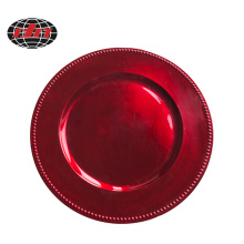 Beaded Red Plastic Plate with Metallic Finish