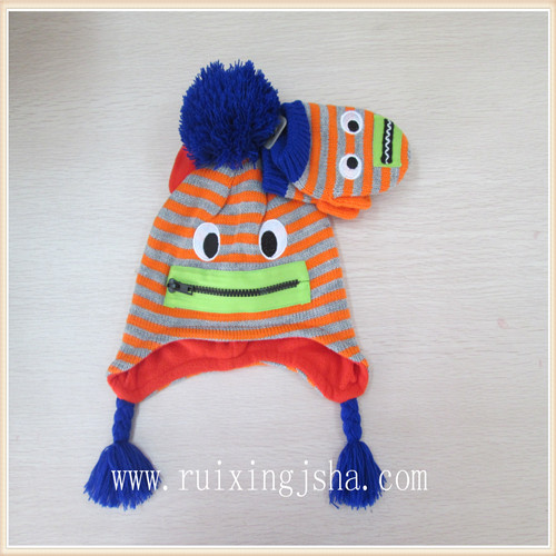 Cartoon Knitted Hat and Gloves Set