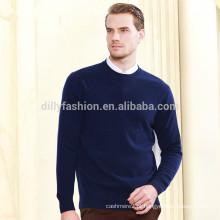 100% cashmere O pescoço pullover padrão mens knitwear
