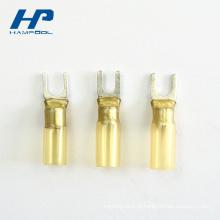 Terminal da forquilha do conjunto de cabo do conector da junção do cobre material de nylon