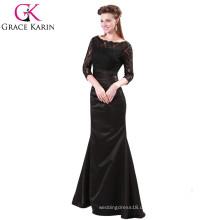 Grace Karin Damen Elegant Lange Kleider Abend Rot und Schwarz Lace Langarm Muslim Abendkleid CL4524-1