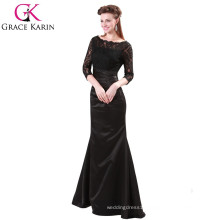 Grace Karin Ladies Elegant Long Dresses Evening Red And Black Lace Long Sleeve Muslim Evening Dress CL4524-1