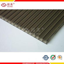 Yuemei roofing material clear polycarbonate  twin wall pc hollow sheet