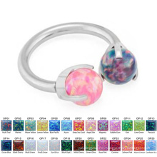 Unique Steel Horseshoe G23 Nose Jewelry Opal Nose Ring Piercing Titanium