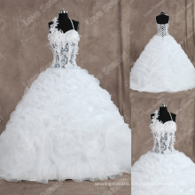 LS0128 Real photos sheer bodice wedding dress bonned top ruffled organza high-quality wedding dress halter wedding gowns