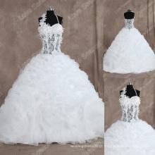 LS0128 Fotos reais vestido de casamento corpete escarpado bonned top arranjado organza vestido de noiva de alta qualidade halter vestidos de noiva