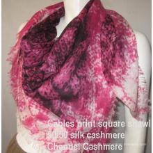 Impresión de seda del mantón de la cachemira