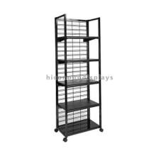 Bewegliche Gridwall 5-Regale Freistehende Gondel Display Metall Werbung Supermarkt Regal