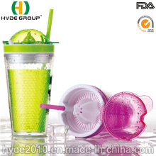Plastic Double Wall Fruit Tumbler with Dome Lid
