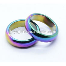 8mm arco iris Hematite magnético domed anillo