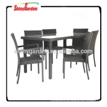 7pcs muebles de comedor de ratán al aire libre, mesa de comedor conjunto de 6 sillas, restaurante conjunto de comedor