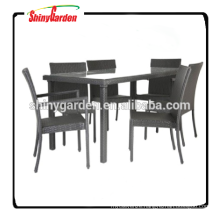 7pcs outdoor rattan dinning set furniture, dining table set 6 chairs, restaurant dining set
