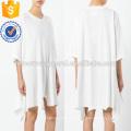 Übergroße lose weiße Kurzarm asymmetrische Baumwolle Sommerkleid Herstellung Großhandel Mode Frauen Bekleidung (TA0009D)