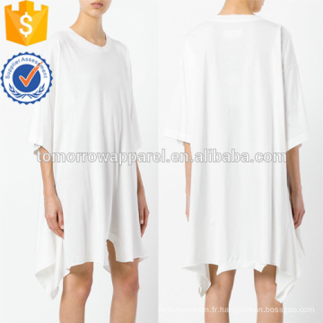 Surdimensionné lâche blanc à manches courtes asymétrique en coton robe d'été fabrication en gros de mode femmes vêtements (TA0009D)