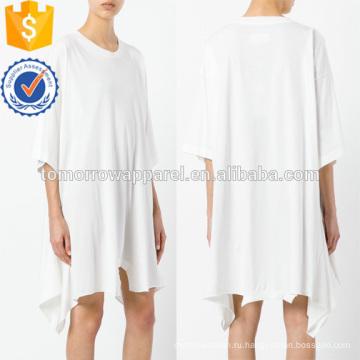Негабаритных свободные белые короткие рукава асимметричный хлопок летнее платье Производство Оптовая продажа женской одежды (TA0009D)