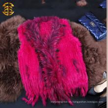 Chaleco de cuero verdadero de la piel del conejo de las mujeres de calidad superior de la fábrica de China