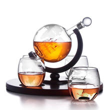 Top Quality High Borosilicate Glass Wine Bottle Dispenser with Earth Shape & Wooden Tray