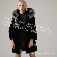 Kvinnor Coat With Mink Flower Winter