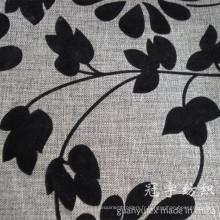 Tissu de sofa imité par lin de polyester de flocage