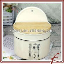 Pots de stockage de cuisine en céramique avec couvercle en bois