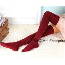 Lady Fashion filles coton vente chaude haute de genou longues chaussettes bas Sexy