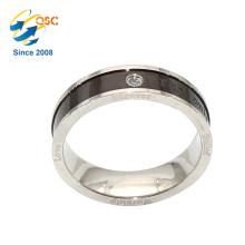 La mode rhodiage gros placage de nouveaux dessins sur mesure en acier inoxydable anneau