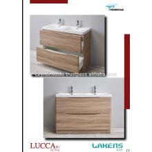 New Design Curved Self-Handle Bathroom Vanity with Laminate Postforming Door
