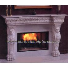 Каменный мраморный камин для внутреннего каминного камина Mantel (QY-LS014)