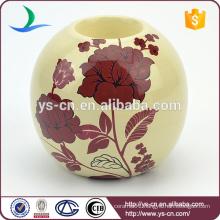 YSch0021-01 ceramic red flower decal round decorative candle holder