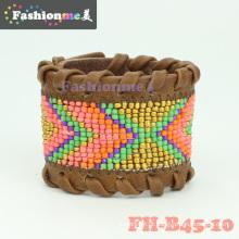 Fashionme couro frisado wrap pulseiras