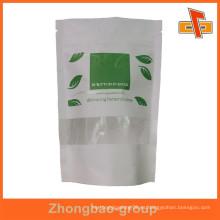 Personalizado de impresión de alto grado de cremallera blanco bolsa de papel zip lockbag