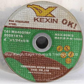4,5 '' depressed center Thin Trennscheibe für Inox 105X1.0X16
