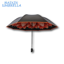 Sun Beach Parasol Promotional Customized Flowers Daisy Print Inside Umbrella