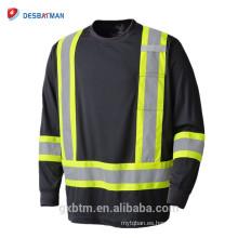 Camiseta de manga larga negra de la seguridad de la alta visibilidad del polo 100% birdseye de las mangas con la cinta reflexiva 3M