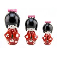 FQ marca mini lindo de madera artesanal kokeshi japonés baby doll