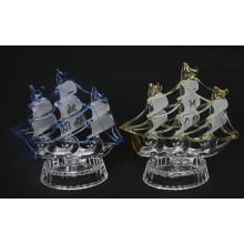 Crystal Boat Modell Glas Segelboot Figur Crystal Segeln