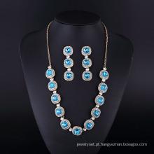 Prata chapeamento moda safira diamante Neckalce para Womwn