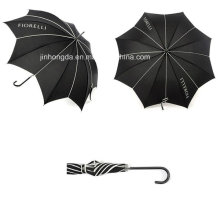 Logo Printing Black Leaf Form Baldachin gerader Regenschirm (YSC0007)